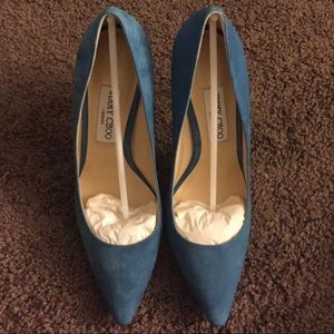 jimmy Choo Robot Blue Suede 100mm Romy